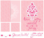 Set of Wedding invitation cards with floral elements. Calligraphic handwritten text, background floral patterns in pink colors Royalty Free Stock Image