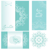 Set of Wedding invitation cards with floral elements. Calligraphic handwritten text, background stripped patterns in blue colors Royalty Free Stock Photos