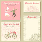 Set of wedding invitation cards with a floral pattern and a colorful illustration of a dancing couple. Royalty Free Stock Images
