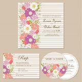 Set of wedding invitation cards with flowers Royalty Free Stock Photo