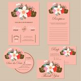 Set of wedding invitation cards with flowers Stock Image