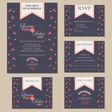 Set of wedding invitation cards with hearts Stock Photos