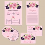 Set of wedding invitation cards with hearts Royalty Free Stock Images