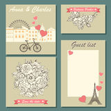 Set of wedding invitation cards and labels with a hand-drawn floral pattern and cute illustration. Royalty Free Stock Images