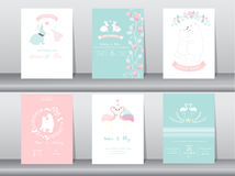 Set of wedding invitation cards,poster,template,greeting cards,animals,rabbits,bears,flamingo,Vector illustrations. Set of wedding invitation cards,poster Stock Photo