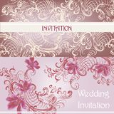 Set of wedding invitation cards in purplecolor Royalty Free Stock Photo