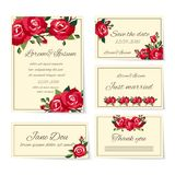 Set of wedding invitation cards with roses Stock Photography