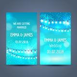Set of wedding invitation cards. In blue colors with light garlands and space for text, vector illustration Stock Photos