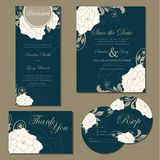 Set of wedding invitation cards. (invitation, thank you card, RSVP card, save the date Royalty Free Stock Photography