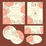 Set of wedding invitation cards Stock Photos