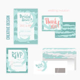 Set of wedding invitation cards withthank you card, RSVP card, envelope in mint vintage style. Royalty Free Stock Photography
