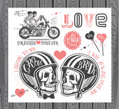 Set of wedding invitation design elements. Set of wedding invitation vintage design elements.Vector Illustration with Skulls of Bride and Groom Stock Photo