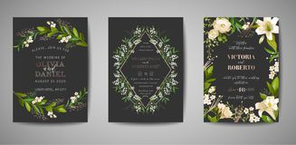Set of Wedding Invitation, floral invite, thank you, rsvp rustic card design with gold foil decoration. Elegant modern template. Set of Wedding Invitation stock illustration