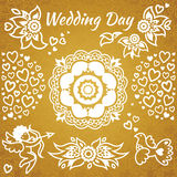 Set of wedding invitation with flowers, hearts, angel and bird. Stock Photography