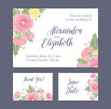 Set of wedding invitation, Save The Date card and Thank You note templates decorated with gorgeous blooming pink and. Yellow ranunculus flowers, buds and leaves Royalty Free Stock Photos