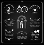 Set of wedding invitation template. vintage design elements.  On Black. Vector Stock Photography