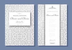 Set of wedding invitation templates. Cover design with silver swirl ornaments Stock Photos