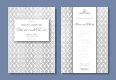 Set of wedding invitation templates. Cover design with silver swirl ornaments Stock Photography