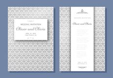 Set of wedding invitation templates. Cover design with silver swirl ornaments Stock Image