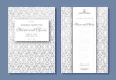 Set of wedding invitation templates. Cover design with silver swirl ornaments Stock Photo