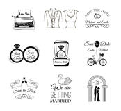 Set of wedding invitation vintage design elements, badges and labels. Stock Photo