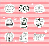 Set of wedding invitation vintage design elements, Stock Images