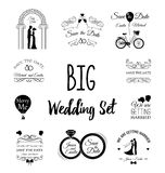 Set of wedding invitation vintage design elements. Vector Illustration Royalty Free Stock Images
