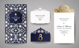 Set of Wedding Invitation Vintage. Template for laser cutting. Vector illustration. Stock Image