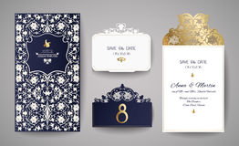 Set of Wedding Invitation Vintage. Template for laser cutting. Vector illustration. Royalty Free Stock Photo
