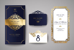 Set of Wedding Invitation Vintage. Template for laser cutting. Vector illustration. Stock Images