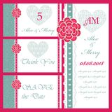 Set of wedding invitations and announcements . Stock Photo
