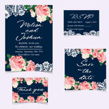Set of wedding invitations and announcements with vintage lace Royalty Free Stock Photo