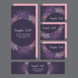 Set of wedding invitations card with lily stock illustration