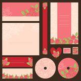 Set of wedding invitations with flowers background Royalty Free Stock Photo