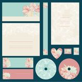 Set of wedding invitations with flowers background Stock Image