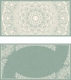 Set of wedding invitations or greeting cards with floral mandala in green and beige. Stock Image