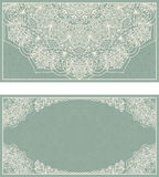 Set of wedding invitations or greeting cards with floral mandala in green and beige. Stock Photo
