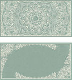 Set of wedding invitations or greeting cards with floral mandala in green and beige. Stock Photos