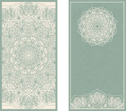 Set of wedding invitations or greeting cards with floral mandala in green and beige. Royalty Free Stock Images