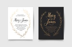 Set of Wedding Invitations with Hand Drawn Laurel Wreaths. Vintage design vector illustration