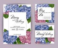 Set of Wedding Invitations, hydrangea invite A5 card Design: Hand drawn colorful marker brush pen illustration. Doodle sketch line. Wedding Invitation, berry vector illustration