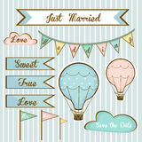 Set of wedding invitations for members with air balloons. Set of wedding invitations for members with balloons and signs on striped background Stock Image
