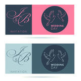 Set of wedding invitations with stripes and couple of doves, mar Stock Photo