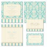 Set of wedding invitations with vintage background. Set of wedding invitations and announcements with vintage background. Ornate damask background Stock Photos
