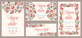 Set of  Wedding invitations. Vintage card, floral and antique decorative elements. Royalty Free Stock Photo