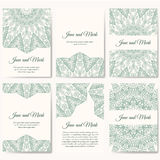 Set of wedding invitations. Wedding cards template with individual concept. Design with doodles for Save the Date, valentines day, Royalty Free Stock Images