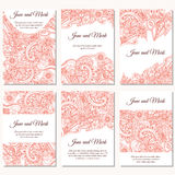 Set of wedding invitations. Wedding cards template with individual concept. Design with doodles for Save the Date, valentines day, Stock Photography