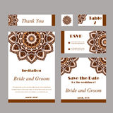 Set of wedding invitations. Wedding cards template with individual concept. Design for invitation, thank you card, save the date  Royalty Free Stock Photography