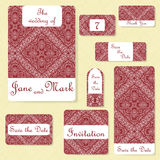Set of wedding invitations. Wedding cards template with individual concept. Design for invitation, thank you card, save the date c Royalty Free Stock Image