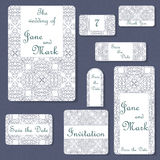Set of wedding invitations. Wedding cards template with individual concept. Design for invitation, thank you card, save the date c Stock Photography